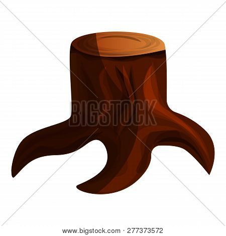 Brown Tree Stump Icon. Cartoon Of Brown Tree Stump Icon For Web Design Isolated On White Background