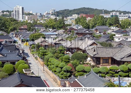 Jeonju, South Korea - September 2018: View Of Jeonju Hanok Village, Popular Tourist Attraction With