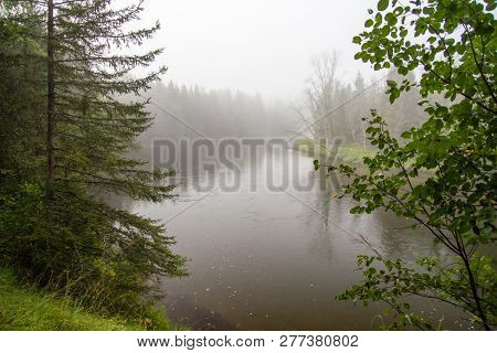 Au Sable River. Fog In A River Valley Of The Famous Au Sable River In The Lower Peninsula Of Michiga