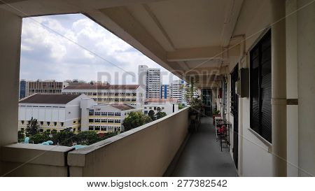 Singapore- Jan 03, 2019: View Of Singapore Residential Building Also Known As Hdb