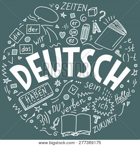 "Deutsch. Translation: ""German"". German language hand drawn doodles and lettering on teal background poster"
