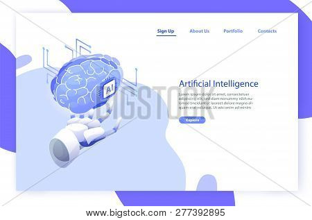 Web banner template with robotic hand holding brain and place for text. Artificial intelligence, smart robot, science and innovative technology, hi tech innovation. Modern vector illustration. poster