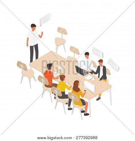 Group Of People Or Office Workers Sitting At Table And Talking To Each Other. Work Meeting, Formal D