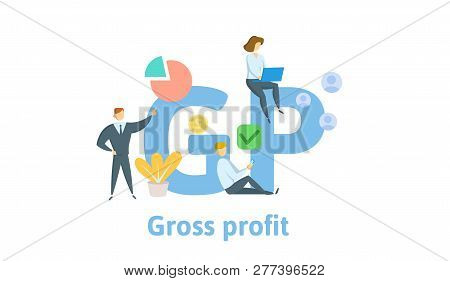 Gp, Gross Profit. Concept With Keywords, Letters And Icons. Flat Vector Illustration. Isolated On Wh