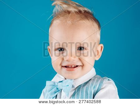 Healthy haircare tips for kids. Boy child with stylish blond hair. Little child with messy top haircut. Little child with short haircut. Haircare products. Bring more creativity and style to hair. poster