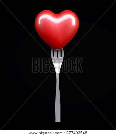 Heart On A Fork Isolated On Black Background, 3d Illustration