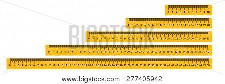 Measure Tape Ruler Metric Measurement. Metric Ruler. Metric Vector Ruler With Yellow And Black Color