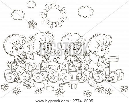 Small Children Playing On A Toy Train On A Playground In A Park, Black And White Vector Illustration