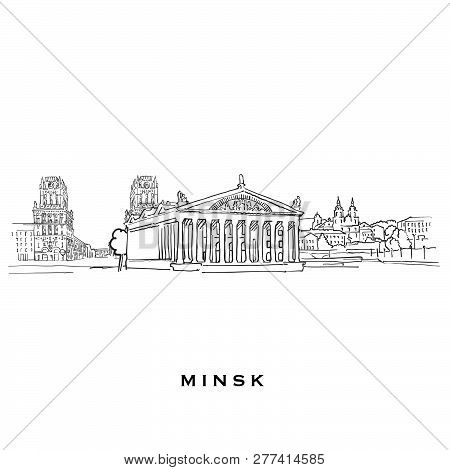Minsk Belarus Famous Architecture. Outlined Vector Sketch Separated On White Background. Architectur