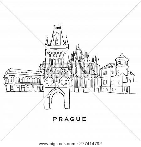 Prague Czech Republic Famous Architecture. Outlined Vector Sketch Separated On White Background. Arc