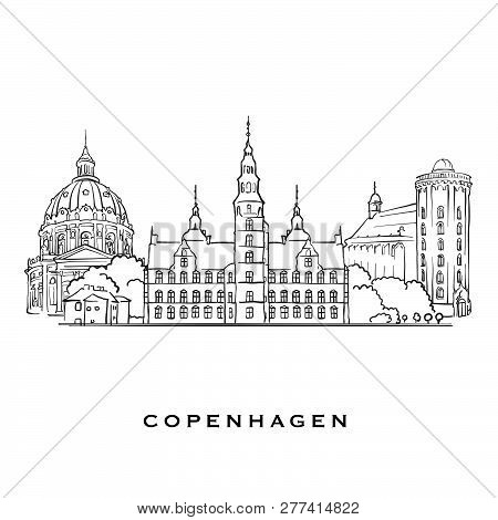 Copenhagen Denmark Famous Architecture. Outlined Vector Sketch Separated On White Background. Archit