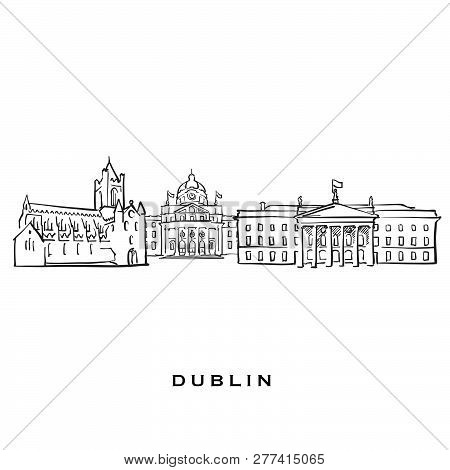 Dublin Ireland Famous Architecture. Outlined Vector Sketch Separated On White Background. Architectu