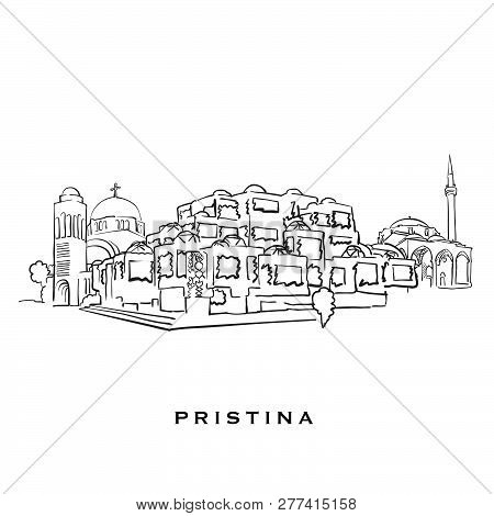 Pristina Kosovo Famous Architecture. Outlined Vector Sketch Separated On White Background. Architect