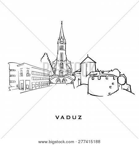 Vaduz Liechtenstein Famous Architecture. Outlined Vector Sketch Separated On White Background. Archi