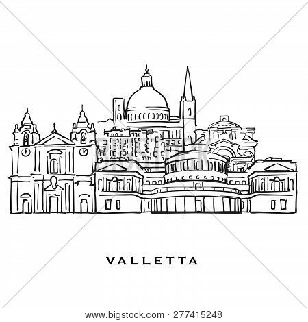 Valletta Malta Famous Architecture. Outlined Vector Sketch Separated On White Background. Architectu