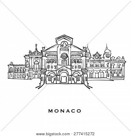 Monaco Famous Architecture. Outlined Vector Sketch Separated On White Background. Architecture Drawi