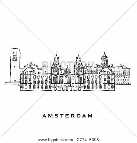 Amsterdam Netherlands Famous Architecture. Outlined Vector Sketch Separated On White Background. Arc