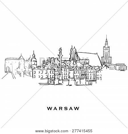 Warsaw Poland Famous Architecture.outlined Vector Sketch Separated On White Background. Architecture