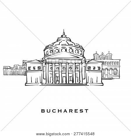 Bucharest Romania Famous Architecture. Outlined Vector Sketch Separated On White Background. Archite