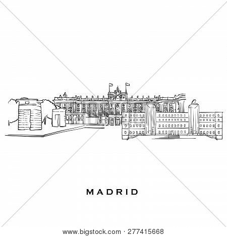 Madrid Spain Famous Architecture. Outlined Vector Sketch Separated On White Background. Architecture
