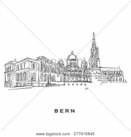 Bern Switzerland Famous Architecture. Outlined Vector Sketch Separated On White Background. Architec