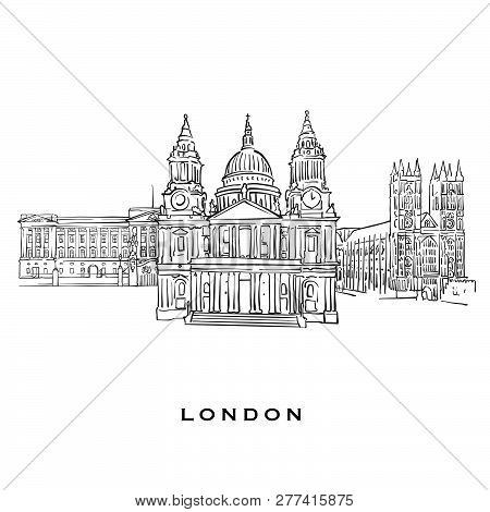 London United Kingdom Famous Architecture. Outlined Vector Sketch Separated On White Background. Arc