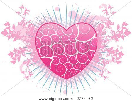 A Valentine's Day pink vector heart background poster