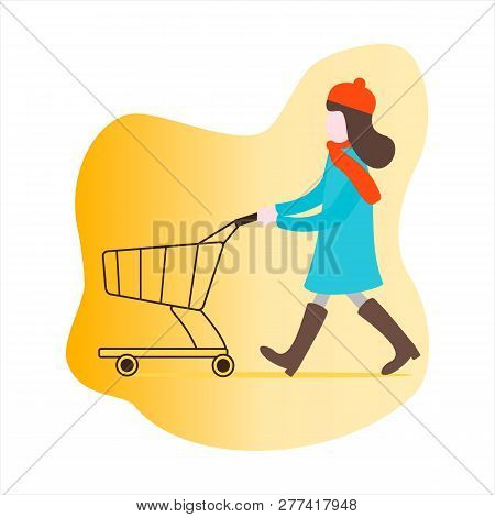 Girl With An Empty Shopping Cart Going On Sale. Shopping Women. Big Sale. Special Offer. Design Conc