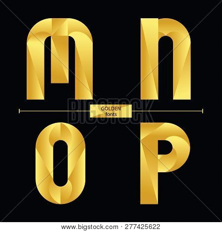 Vector Graphic Alphabet In A Set M,n,o,p, With Golden Color Geometric Luxury Style