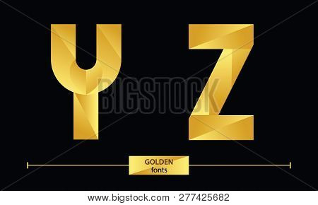 Vector Graphic Alphabet In A Set Y,z, With Golden Color Geometric Luxury Style
