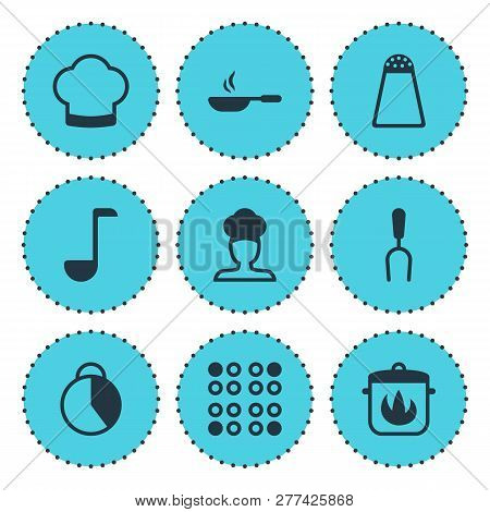 Vector Illustration Of 9 Cooking Icons. Editable Set Of Skillet, Salt Cellar, Electric Stove And Oth