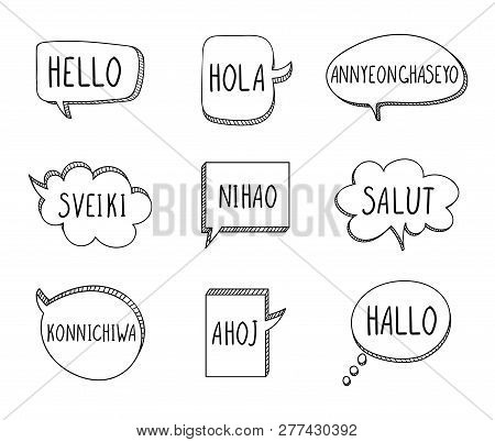 Vector Talk Bubbles With Hellos On Different Languages: English, Spanish, Korean, Lithuanian, Chines