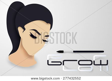 d2dedec90cb Brows And Lashes Lettering. Vector Illustration Of Lashes And Brows. For  Beauty Salon,