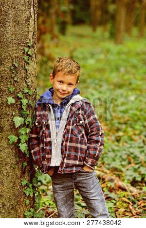 I Never Get Tired Of Smiling. Smiling Happy Boy. Little Boy Smiling In Forest. Little Child With Ado