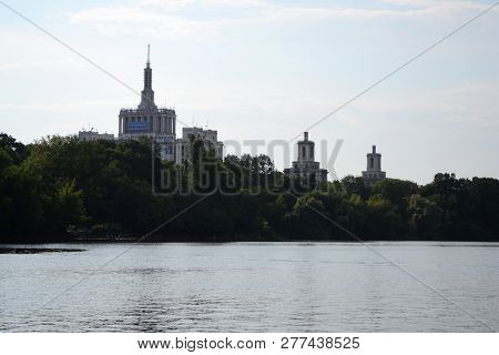 Bucuresti, Romania - June 09, 2014: Landscape Of Herastrau Lake With The House Of The Free Press In