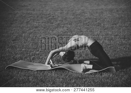 Active Woman Training On Green Grass, Activity Concept. Activity Outdoor, Energy, Fitness, Sport.