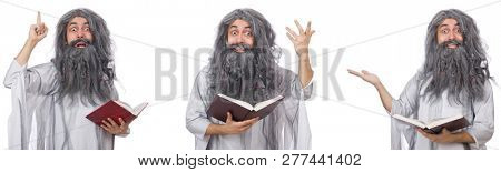 Funny old wizard with book
