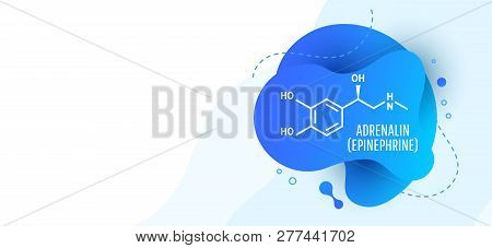 Adrenaline (adrenalin, epinephrine) molecule isolated on wave liquid background. Vector icon. poster