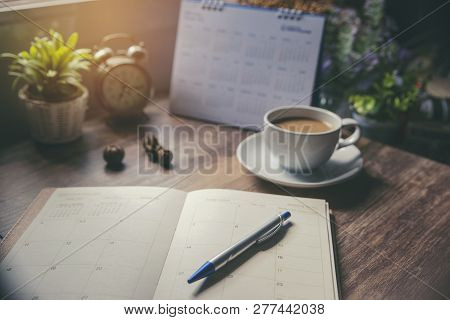 Planner And Calendar Concept.desktop Calender 2019,cup Of Coffee Place On Office Desk,working Space.