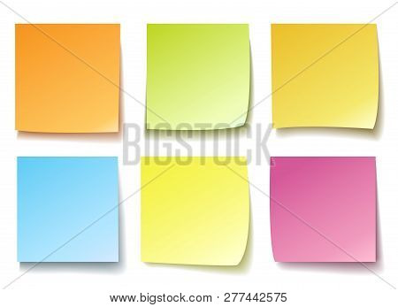 Colorful Memo. Post Reminder Papers Isolated Vector, Blank Colourful Posting Notes For Message Pad