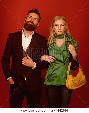 They Got Great Style. Love Relations. Autumn Fashion Trends. Couple In Love In Fashionable Style. Fa