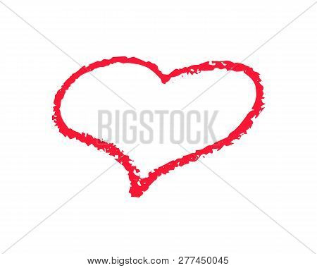 Single Red Heart Outline Vector Illustration On White Background. St Valentine Day Clipart. Chalk Te