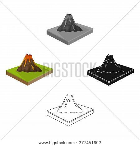 Mountains, Volcano And Landscape. Relief And Mountains Single Icon In Cartoon Style Isometric Vector