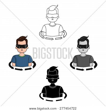 Rotation Of Player In The Virtual Reality Icon In Cartoon Style Isolated On White Background. Virtua