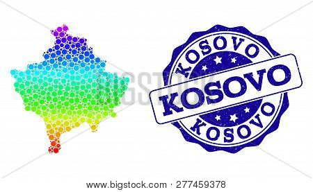Dot spectrum map of Kosovo and blue grunge round stamp seal. Vector geographic map in bright spectrum gradient colors on a white background. poster