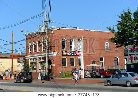 Portland, Me, Usa - Aug 24, 2014: Portland Commercial Street At Old Port, Portland, Maine, Usa. Old