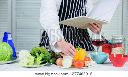 Culinary Arts Concept. Man Learn Recipe. Improve Cooking Skill. Ultimate Cooking Guide For Beginners