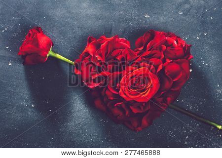 Heart-shaped roses and rose flower on grey background. Valentine's Day. Symbol of love and romance.