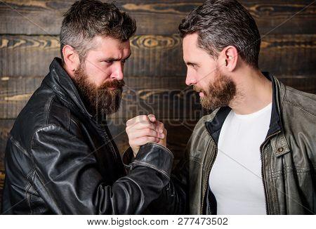 Friendship Of Brutal Guys. Mafia Dealer. Real Friendship Of Mature Friends. Male Friendship Concept.
