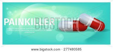 Banner Illustration Advertisement Painkiller Pils. 3d Vector image Medication Lying red Tablet Isolated on Green Background. Rheumatic Disease Treatment. Rheumatologist Prescription poster